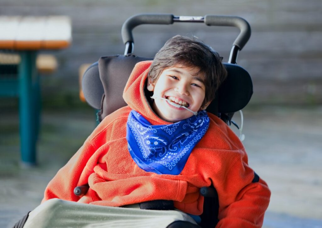 happy child with cerebral palsy with viosapp